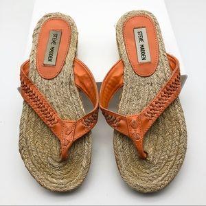 Steve Madden Orange Flip Flops, 6